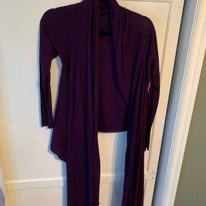 DKNY purple wrap sweater.